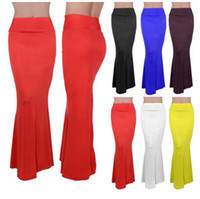 Wholesale Women Bohemia Style Long Skirt - New Fashion Spring Summer Women Bohemia Style Casual Long Skirts Female Candy Color High Waist Maxi Womens Skirts