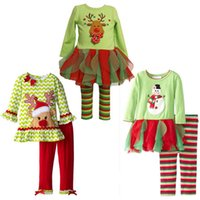 Wholesale 2016 New Arrival Christmas Girls Cloth Suit Fawn Snowman Cartoon Colorful Stripe Cotton Fabric New Year Gifts
