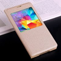 Wholesale Galaxy S Cover View - For Samsung Galaxy S5 S 5 i9600 Case Flip Cover Smart View Sleep Wake up Phone Cases with Waterproof Circle Original Chip