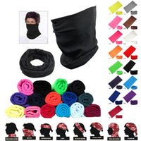 Wholesale Spring Color Scarves - Fashion Magic Headwear Pure Color Seamlessly Scarf Outdoor Cycling Head Scarf Multifunction Scarves Riding Face Mask Hood F474