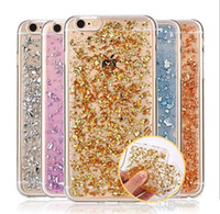 Colorido Glitter Gold Foil Paillette Sequin Transparente Soft TPU Case para Samsung Galaxy S6 S7 Edge Plus iPhone 5 SE 6 Grand Prime G530