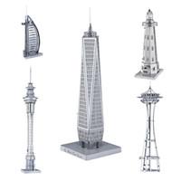 Wholesale Wholesale Metal Buildings - 3D Metal Puzzle Mix-Lot Space Needle Center Empire State Building Tower of the Americas DIY 3D Metal Model Building Kits