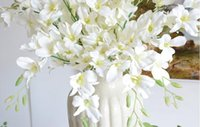 Display Flower orchids blue - High Quality Artificial Real Touch Flowers White Blue Orchid Touch Flowers For Home Wedding Decoration Dining Table decor