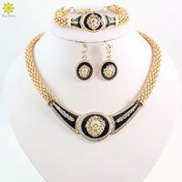 Wholesale vintage indian bead bracelet - Accessories Wedding African Beads Jewelry Set 18K Gold Plated Crystal Vintage Earring Bracelet Necklace Fashion Lionhead