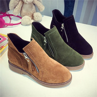 Wholesale Thick Elastic Fabric - Fashion Women Short High Cut Ankle Boots, Leather Thick Flat Heels Martin Boots