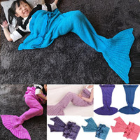 Wholesale Teenage Watches - Mermaid Tail Costume Blanket Cosplay Knitted Bed Blanket Sofa Air-conditioned Living Room Watch TV Moive Book Sleeping Bag Gift for Kids