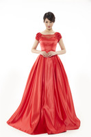 Wholesale Ball Chairs - Springtime New Style Fashion Atmosphere Round Neck   U-shaped Collar Marry Was Thin Red Satin Long Section Banquet Chaired Evening Dresses