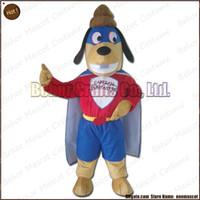 köpek kostüm çocuğu toptan satış-Süper Kahraman Köpek maskot kostüm EMS ücretsiz kargo, ucuz yüksek kaliteli karnaval parti Fantezi peluş yürüyüş Süper Köpek Kahraman maskot yetişkin boyutu.