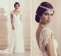Wholesale Shortest Eyelash - Sexy V Back French Eyelash Lace Wedding Dresses 2016 Appliques Sweep Train Beach Bridal Gown Long Simple Boho Wedding Bridal Gowns Elegant