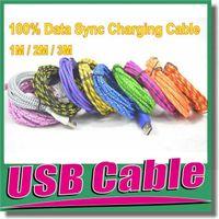 iphone ladegerät kabel 6ft großhandel-Hochwertige USB Ladekabel Adapter 3FT 6FT 10FT bunte geflochtene Kabel Fiber Woven Ladekabel für Smart Handy S6 S7 Edge OM-E3