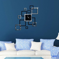 black home decor uhr großhandel-Moderne DIY große Wanduhr 3D Spiegel Oberfläche Aufkleber Home Decor Art Design neu