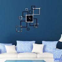 grandes espejos modernos al por mayor-Moderno bricolaje reloj de pared grande 3D Espejo superficie pegatina Home Decor Art Design Nuevo
