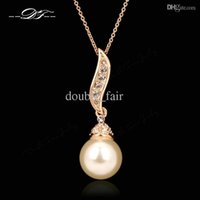Wholesale Nice Pearl Necklace - Nice Imitation Pearl Bead Necklaces & Pendants 18K Gold Plated Fashion Brand Vintage CZ Diamond Jewelry For Women Accessiories DFN301