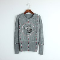 Wholesale Dogs Wool - 1010DL01 2017 Brand Same Style Sweater Gray Pullover Regular Long Sleeve Crew Neck Wool Blend Dog Print Fashion Women Clothes