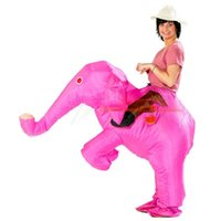 Wholesale Adult Pink Elephant Costume - Animal Funny Inflatable Elephant Costume Entertainment Adult Fancy Dress Christmas Halloween Costumes for Women Men