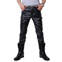Wholesale Men Pu Pants - Wholesale-2016 Hip Hop Mens Leather Pants Faux Leather Pu Material 3 Colors Motorcycle Skinny Faux Leather Outdoor Pants