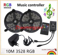 10M 600Leds RGB Led luz de tira SMD 3528 flexível luz 60LED / m de Cordas + UE / EUA 12V 3A Power Adapter + controlador de música de fita Led
