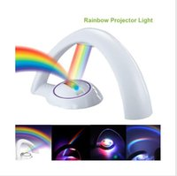 Wholesale Rainbow Wedding Decor - Colorful Rainbow Projector LED Night Light Lamp Amazing Nursery Room Decor Gift For Baby Kid Child Without Battery CE RoHS epistar chip LED