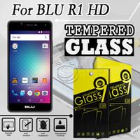 vidrio templado azul al por mayor-Protector de pantalla de cristal templado para los accesorios del teléfono móvil BLU R1 HD con el embalaje