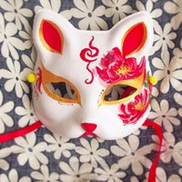 Wholesale Masquerade Mask Fox - Wholesale-Japanese Upper Half Face Hand-Painted Fox Masks Kitsune Cosplay Masquerade Camellia japonica L. for Party Halloween Carnival