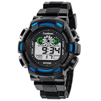 Wholesale watch double time - Men Sports Watches Countdown Double Time Watch Alarm Chrono Digital Wristwatches Men LED Digital Military Watch