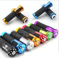Wholesale Yellow Motorcycle Grips - Motorcycle Grips Aluminum & Rubber CNC Handle Bar Hand Grips BLACK & RED 22MM MOTOR MONSTER Grips Purple RED BLUE BLACK YELLOW PURPLE