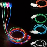 Wholesale light up micro usb charger - Flowing Moving Glow Led Cable Visible Light-up Flashing 1M 3FT USB Data Sync Charger cable for Samsung S7 S6 edge HTC M9 Blackberry