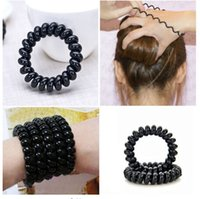 Wholesale Hairband Telephone - New Women Lady Girl Black Elastic Girl Rubber Telephone Wire Style Hairband Hair Ties & Plastic Rope Hair Band Accessories