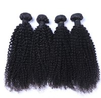 Wholesale thick curly hair extensions - 8A High Quality Peruvian Kinky Curly Unprocessed Thick Human Hair Extensions 8-30inch Natural Black Color Dyeable 4pcs lot Free Shipping DHL