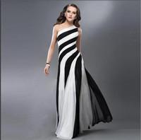 Wholesale Nice Bandage Dresses - Ladies Dresses Free Style Nice Women Maxi Bandage Dress New Black White Striped Chiffon Jumpsuit Oblique Party Evening Dresses for Womens
