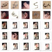 Wholesale Ear Cuffs Snake Dragon - Low sales Ear Cuff bird snake Dragon 60 Different Styles Earring Golden or Silver or Black LKYLEC001