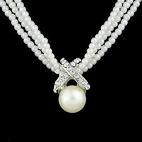 Wholesale three pearl pendant - High Quality White Pearl Choker Necklace Classic Three Layers Beads Chain Graceful Necklaces Colares Femininos For Elegant Women