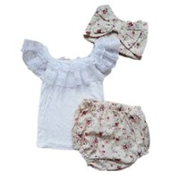 Wholesale Toddler Girls Lace Shirts - 3PCS Infant Clothing Set Newborn Baby Summer Lace T-shirts+Shorts+Headband Cotton Sets Toddler Girl Clothes 0-3T 1648