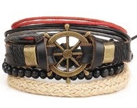 Wholesale Large Compasses - 4 Layer PU Leather Anchor Compass Beaded Wrapped Bracelets Infinity Wristband Bangles Adjustable Length For Men Women Large Stock