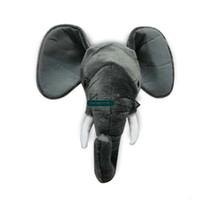 аниме панда плюшевые оптовых-Dorimytrader поп аниме реалистичные животные головы слон Лиса Панда олень носорог плюшевые игрушки животных настенные украшения дома DY61780