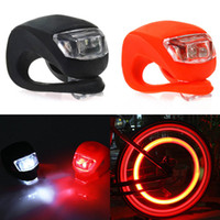 Wholesale Silicone Bike Light Wholesale - Silicone Bike Bicycle Cycling Head Front Rear Wheel LED Flash Light Lamp black red Free Shipping
