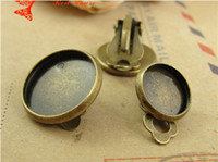 Wholesale Earring Tray Diy - A3124 Fit 10MM 12MM 14MM 16MM 18MM Retro round stud Earrings blank base tray bezel jewelry accessories wholesale handmade DIY material