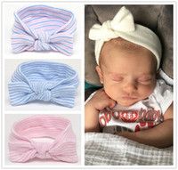 Wholesale Striped Headbands - Newborn Baby Strip Bow Headbands Infants Knot Bowknot hairbands Hair Accessories Kids Soft Striped Cotton Headands Headdress KHA500