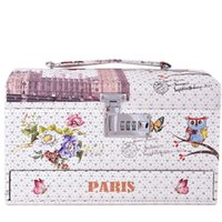 Wholesale New Owl Case - 2016 New Design High Heeded Owl Flower Design Profissional Make Up Box Fashion Makeup Case Beauty Case Multi Tiers Lockable Jewelry Box