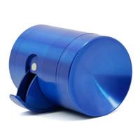 mavi ot makinesi toptan satış-Içbükey Ot Değirmeni Çinko Alaşım Tütün Bitkisel Öğütücü 4 Parça 40mm Çap Yan-açık Baharat Kırıcı Mavi