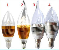 3W E12 E27 E14 Silber / Golden Led Kerze Birnen Lichter Warm / Cool White High Bright Led Spot Lights 85-265V kostenloser Versand
