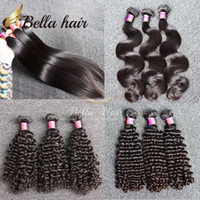 Wholesale Human Hair Weave Bleachable - 8A 100% Remy Virgin Brazilian Hair Bundles Unprocessed Virgin Dyeable Bleachable Human Hair Extensions 3pcs lot Brazilian Hair Bella