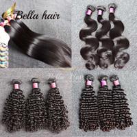 3adet bakire remı saç toptan satış-Bella Hair® 9A 100% Remy Bakire Brezilyalı Saç Demetleri Işlenmemiş Bakire Boyanabilir Ağartılabilir İnsan Saç Uzantıları 3 adet / grup Brezilyalı Saç