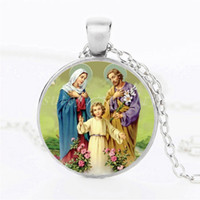 Wholesale Glass Cross Necklaces - 2017 Besting Men Jesus Cross Christ Catholic Necklace Round Glass Dome Pendant Mary Mother Of Baby Necklaces Jewelry Gift For Women