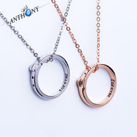 Wholesale Free Romantic Letters - New romantic pendant necklaces personalized Forever word ring necklaces simple couple jewelry free shipping