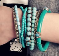 Wholesale bohemia multilayer bangles for sale - Ocean Blue Bracelet Beads Retro Bohemia Style Multilayer Alloy Blue Beaded Bracelet Multilayer Beads Bangle Bracelet