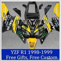 Wholesale Custom Sportbike Fairings - Sportbike fairing for Yamaha YZF R1 1998 1999 Yellow black 98 99 YZF R1 Custom Painting Motorcycle Fairing free gifts