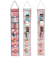 Wholesale Fabric Covered Clips - 8 Pockets Hanging Waterproof Door Wall Mounted Sundries Clothing Jewelry Closet Storage Organizer Bag Clips