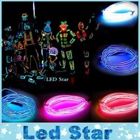 Wholesale El Wire 1m - 1M  2M  3M  5M Flexible Led Neon Light flexible EL Wire Rope Tube Cable+Battery Controller Water Resistant LED Light