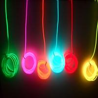 12v el wire auto achat en gros de-2m / 3m / 5M 3V-12V lumière néon flexible lueur EL câble corde bande bande de câble LED néons chaussures vêtements lampe de ruban décoratif de voiture